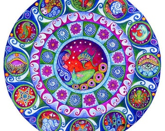 Pisces art mandala astrology zodiac greeting card blank meditation yoga wall decor inspirational healing art zodiac