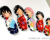 Kokeshi-inspired Doll Magnets