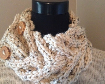 Oatmeal Knitted Cowl, Chunky Cable Neck Warmer with 2 Reclaimed Wood Buttons