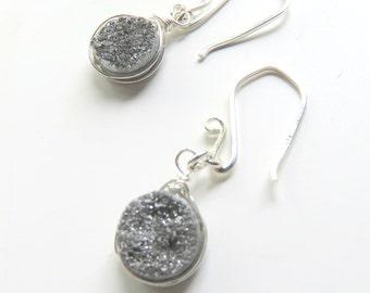 Silver Druzy Dangle Earrings - Sterling Silver Wire Wrapped Druzy Stones - Dainty Stone Earrings - Rustic