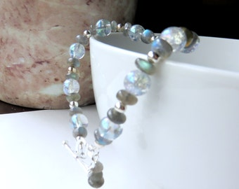 Dainty Labradorite Bracelet - Blue and Silver Beaded Bracelet - Labradorite Gemstones and Sterling Silver - Gemstone Jewelry - Gift for Her