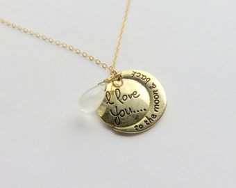 Moonstone Gold Fill Chain Necklace, To the Moon and Back, Sentiment Necklace, Gold Moonstone Jewelry,Love and Romance, Gift for Her