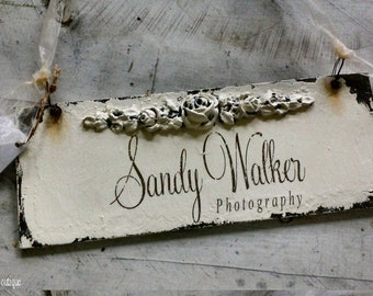 BUSINESS SIGN, Door Hanger, Shabby Chic Sign, Rose & Leaf Design, Distressed Sign, Door Sign