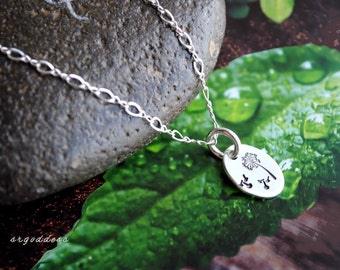 MAKE A WISH all sterling silver oval dandelion necklace length and clasp choice  by srgoddess