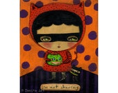 I Am Not sharing my candy - A Halloween mixed media painting print Danita Art, whimsical girl mounted on wood or frameable paper print