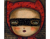 Alice the mischevous red devil -   Halloween mixed media painting print Danita Art, whimsical art on wood or frameable paper print
