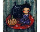 A witch and a pumpkin illustration  Halloween mixed media painting print Danita Art, whimsical art on wood or frameable paper print