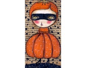 The pumpkin dress witch -    Halloween mixed media painting print Danita Art, whimsical art on wood or frameable paper print