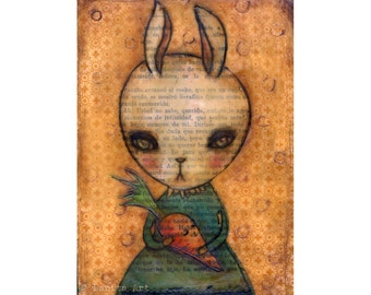 Sweet carrot of mine - Halloween mixed media bunny rabbit painting Danita Art, whimsical girl mounted on wood or frameable paper print