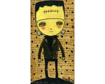 Frankenstein Monster Collage  Halloween mixed media painting print Danita Art, whimsical art on wood or frameable paper print