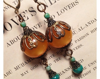 Art Deco Lantern Earrings in Orange