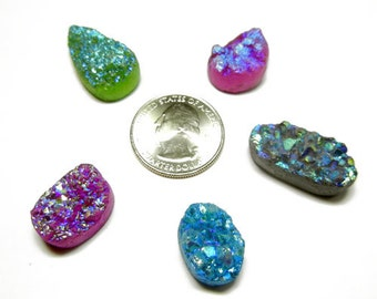 Lot of 5 Druzy Drusy Cabochon Cabs for Wire Wrap Jewelry - DZ55