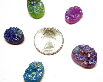 Lot of 5 Druzy Drusy Cabochon Cabs for Wire Wrap Jewelry - DZ56
