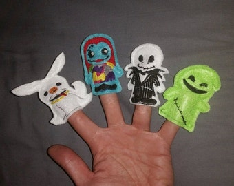 Finger Puppet Playset inspired by Nightmare Before Christmas characters jack sally gift toy