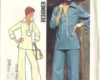 Simplicity 6895 Misses Laced Top, Pants 70s Vintage Sewing Pattern Size 10 Bust 32 1/2 Designer Fashion