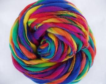 Handspun merino yarn, thick and thin yarn, HOGMANAY 2, super bulky yarn, dolls hair, dreads, giant knitting, rainbow yarn, 60yds, 3.5oz