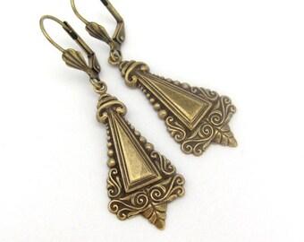 Art Deco Earrings, Boho Bohemian Style, Antiqued Brass, Victorian Earrings, Art Nouveau Design,Wedding Jewelry, Hawaiibeads
