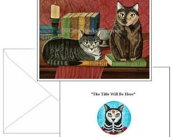 Library Cats Cards Classic Literary Cat Tabby Cat Tortoiseshell Cat Books Poe, Dickens, Stoker Fantasy Cat Art 2 Note Cards Set