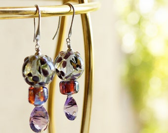 Take Flight SRA Lampwork Glass butterfly Amethyst Sterling Silver Earrings