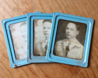 SALE Vintage Photomatic Photo Booth photographs - RARE Tin Metal Blue frame with 3 consecutive photos - Collectible Mutoscope SALE Offers
