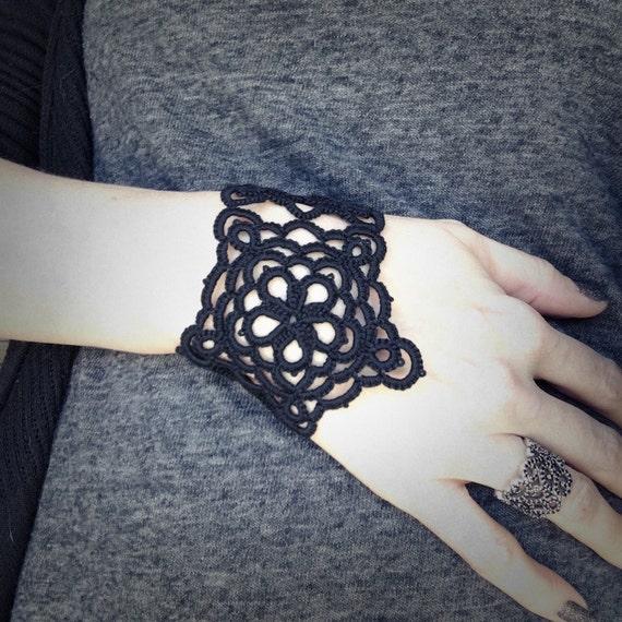 https://www.etsy.com/listing/265701376/tatted-lace-cuff-bracelet-black-star?