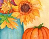 Sunflower painting, 8 x10, leaves, pumpkin watercolor painting, Mason Jar art, watercolors paintings sunflower decor original