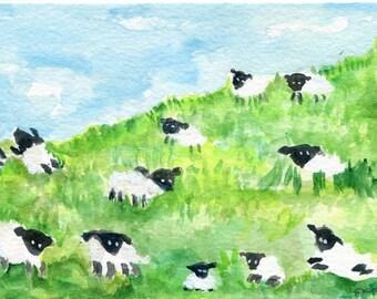 Sheep, Lambs Watercolor Painting, Small Animal Art, Flock of sheep art card, sheep painting, watercolors paintings original