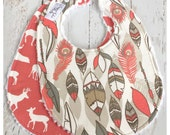 """Baby Bibs for Baby Girl  - Set of 2 Triple Layer Chenille  -  Willow Feathers & Coral """"Oh Deer"""""""