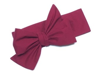 Headwrap, Girls Headwrap, Baby Girl Headwrap, Head Wrap, Girls Headband, Big Bow Headwrap, Solid Wine, Burgandy, Maroon  - SOLID CRANBERRY