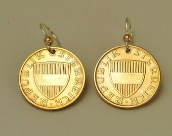Austria Coin Earrings 1985