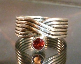 Purple Tourmaline V Shaped swirl Ring Sterling Silver wide thick band faceted size 8 pink or merlot wine