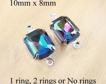 Rainbow Vitrail Glass Beads, Silver Plated Brass Settings, 10mm x 8mm, Octagon, Rhinestone, Cabochon, Glass Gems, Glass Jewels, One Pair