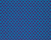 SPOT in PEACOCK Blue with Maroon Polka Dot 1/2yd  GP70 by Kaffe Fassett / Westminster Fabric / Cotton, Quilt Craft and Apparel fabric