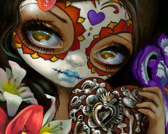 Milagros: Corazon day of the dead fairy art print by Jasmine Becket-Griffith 8x10 sugar skull heart flowers
