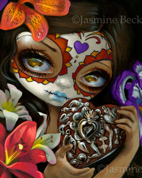 Milagros Corazon Day Of The Dead Fairy Art Print By Jasmine