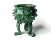 Turquoise Grouchy Planter Pot with Spikes and Sculpted Feet