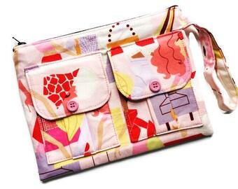 Ladies Wallet Wristlet, Cell Phone Wristlet Wallet, Pink Wristlet Purse, Large Wristlet, Womens Wallet Purse, Fabric Wallet