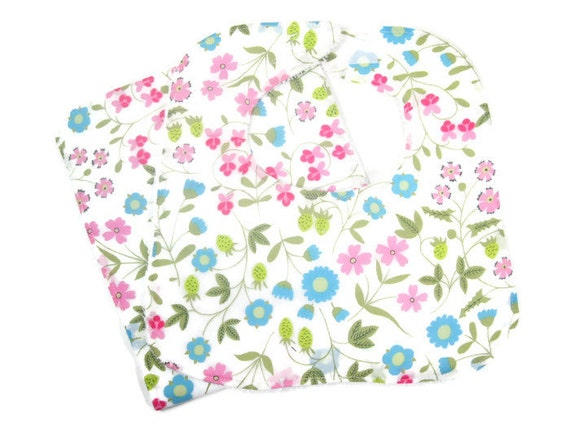 Mirabelle Floral Baby Girl Bib and Burp Cloth Set, Baby Shower Gift, Newborn Gift