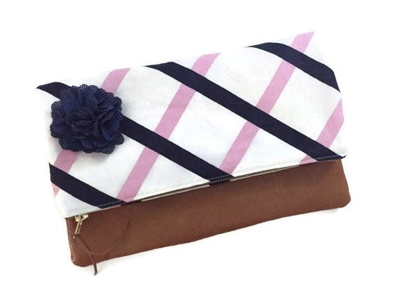 Striped Pink and Navy Blue Grid Foldover Leather Clutch, Linen Fabric Clutch Purse, Leather Fold over Zippered Evening Bag, 144 Collection