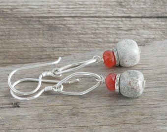 Carnelian JASPER Sterling Silver Hill Tribe Silver Dangle Earrings // Handcrafted Jewelry // luluglitterbug
