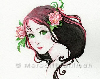 Original art, inktober, ink drawing, portrait, faerie, anime art, flower - Pink haired Fairy