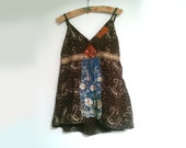 Constellation Top, Embroidered, Sparkly, Brown, Blue, Lace, Tank, Patchwork, Applique, Boho