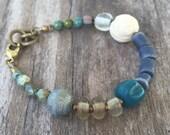 EARTHEN BLUE Bohemian Inspired Bracelet, Land & Sea, Adjustable Length