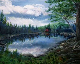 """Original Oil Painting 18X24x.75"""" Wrapped canvas Cabin on Cliche Pond Fine Art"""