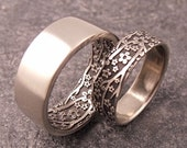 Opposites Attract Wedding Band Set -- Cherry Blossom Pattern in 14k White Gold