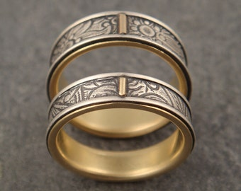 Sunflower Patterned Wedding Band Set in Sterling Silver and 18k Gold