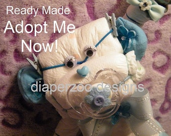 Diaper Cake MONKEY. Ready Made. Baby Shower Gift~New Baby~unique gift decor.