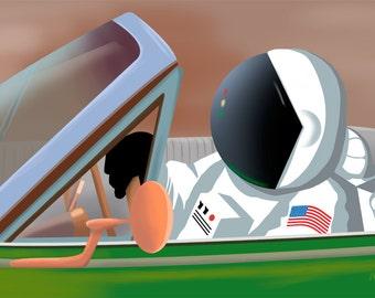 Astronaut Art Print, Original Art Print Direct from the Artist, 11x17 inches