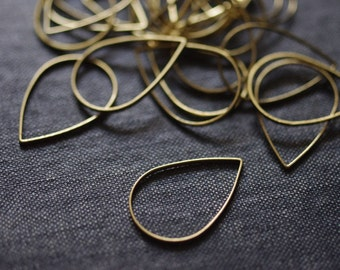 Teardrop Hoops 25x17mm - Raw Brass - 18pcs - Raw Brass Teardrop, Brass Teardrop Hoops, Teardrop Connectors, Teardrop Links