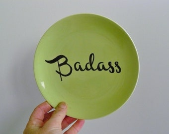 Badass hand painted vintage china bread and butter plate recycled humor lime geen coolness decor display